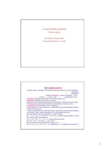 Základy metabolismu, citrátový cyklus - Ústav lékařské chemie a ...