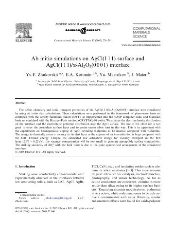 Ab initio simulations on AgCl(111) surface and AgCl(111)/a-Al2O3 ...