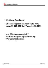Offenlegungsbericht 2011 WAK - Wartburg-Sparkasse