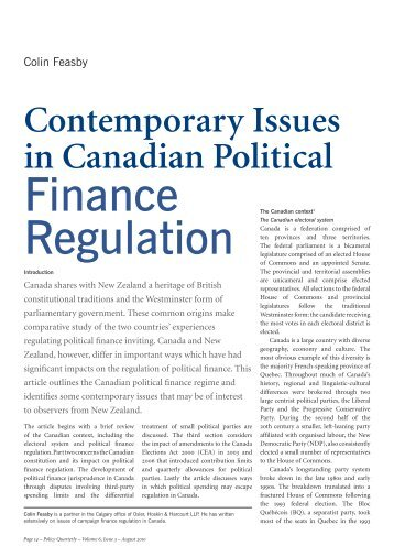 Contemporary Issues in Canadian Political - Institute for Governance ...