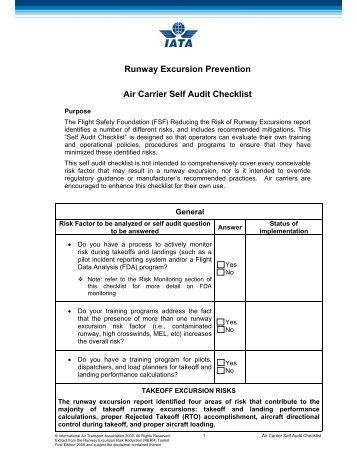 Runway Excursion Prevention Air Carrier Self Audit Checklist