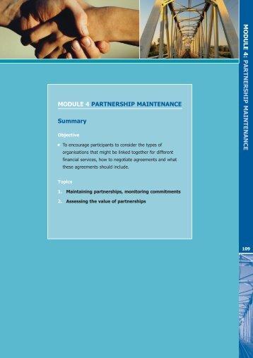 MODULE 4 PARTNERSHIP MAINTENANCE Summary