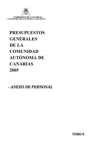 Anexo de Personal para 2005 - Gobierno de Canarias