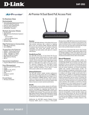 Air Premier N Dual Band PoE Access Point - D-Link