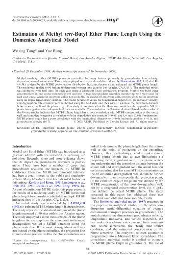 Estimation of Methyl tert-Butyl Ether Plume Length Using the ...