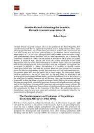 'Aristide Briand: defending the Republic through economic ...