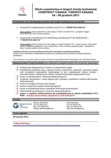 Oferta uczestnictwa w targach - targi za granicą - Międzynarodowe ...