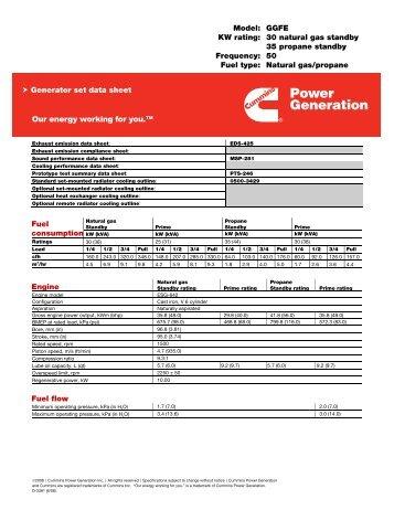 Model: GGFE KW rating: 30 natural gas standby 35 propane standby ...
