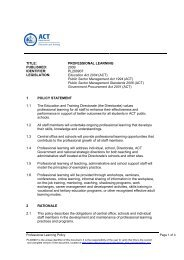 Professional Learning Policy - Education and Training Directorate ...