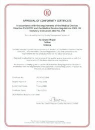 APPROVAL OF CONFORMITY CERTIFICATE - Chemi-Pharm AS