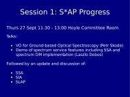 Session 1: S*AP Progress - IVOA