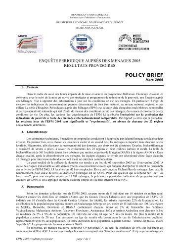 Policy Brief - Institut national de la statistique malgache (INSTAT)