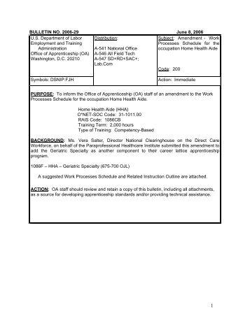 BULLETIN NO. 2006-29 June 8, 2006 US Department of Labor - PHI