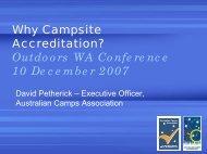 Accreditation- Petherick 07 Conference Workshop - Outdoors WA