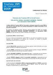 Palmarès des Trophées INPI en Ile-de-France : CELLECTIS, XIRING ...