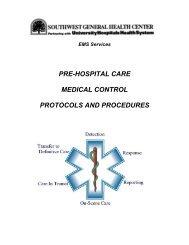 pre-hospital care medical control protocols and procedures