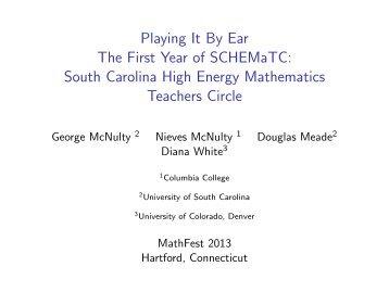 South Carolina High Energy Math Teacher's Circle
