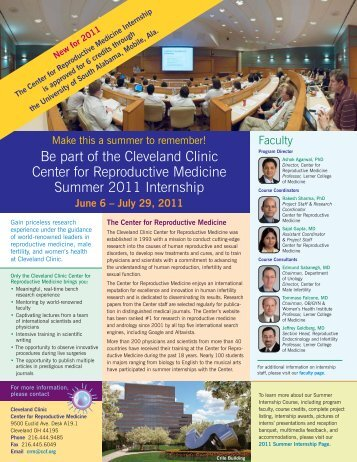 Be part of the Cleveland Clinic Center for Reproductive Medicine ...