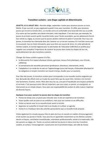 Transition scolaire : une étape capitale et déterminante - CREVALE