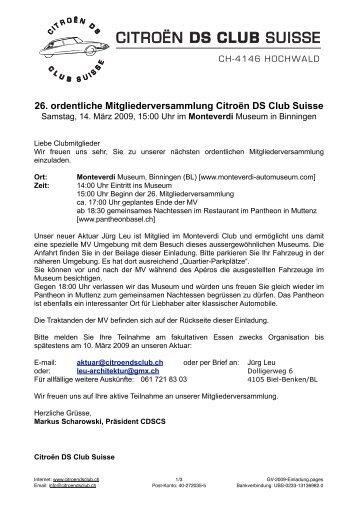 26. ordentliche Mitgliederversammlung Citroën DS Club Suisse