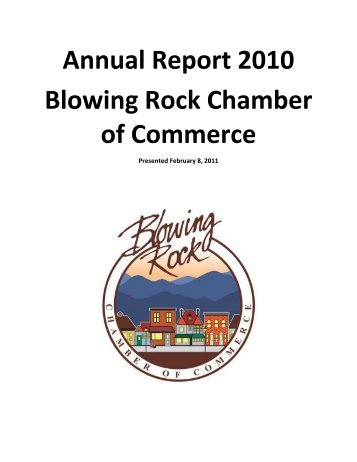 Annual Report 2010 Blowing Rock Chamber of Commerce