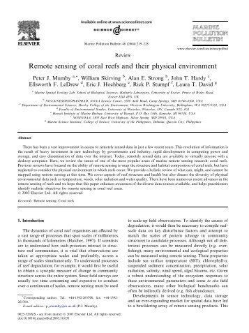 Remote sensing of coral reefs and their physical environment