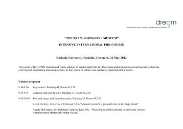 Detailed program for the PhD course
