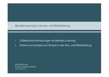 und Weiterbildung Didaktische Anforderungen an Blended Learning ...