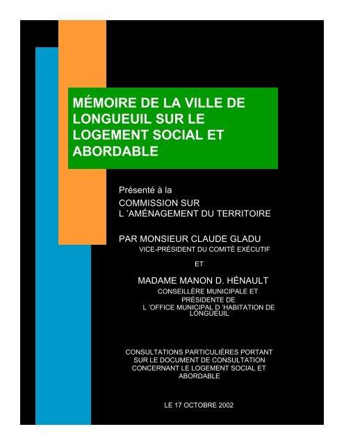 Mémoire de la Ville de Longueuil sur le logement social et abordable
