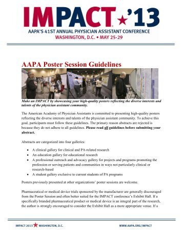 AAPA Poster Session Guidelines - American Academy of Physician ...