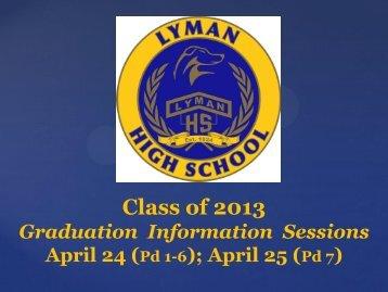 Class of 2013 - Lyman High School