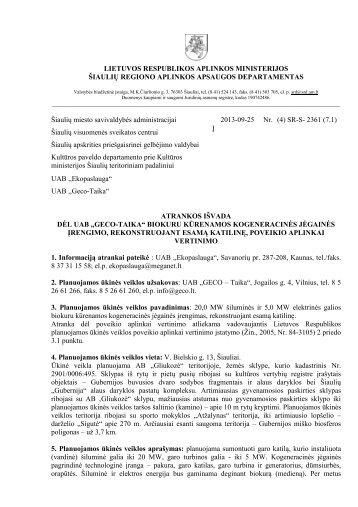 "SR-S-2361 (7.1) dėl UAB ""Geco-Taika"" - RAAD"