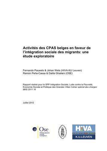 Activités des CPAS belges en faveur de l'intégration sociale des ...