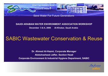 SABIC Wastewater Conservation & Reuse - Saudi Arabian Water ...
