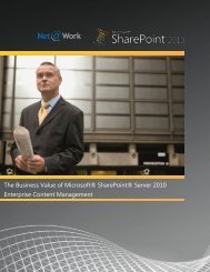 The Business Value of Microsoft® SharePoint® Server ... - Net@Work