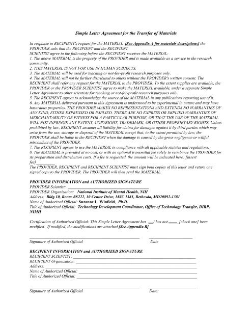 Simple Letter Agreement For The Transfer Of Materials