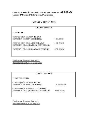 Calendario de pruebas finales de curso, convocatoria ordinaria