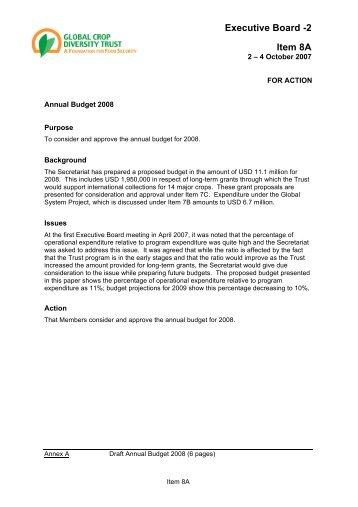 EB2 paper 8A Budget 1 of 2 FINAL - Global Crop Diversity Trust