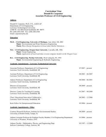 ASME Resume - Lawrence Technological University