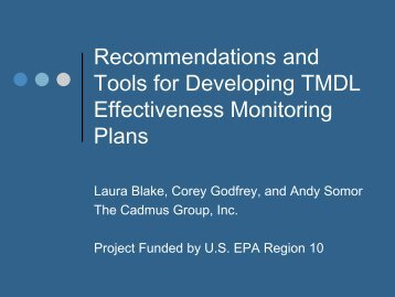 Designing Effectiveness Monitoring Plans for TMDLs ... - NEIWPCC