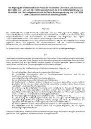 Regeln guter wissenschaftlicher Praxis an der TU Dortmund