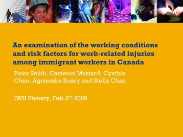 An examination of the working conditions and risk factors for work ...