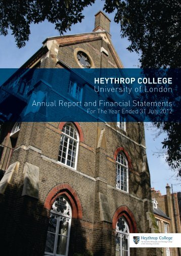 Audited Annual Financial Statements 2012 - Heythrop College