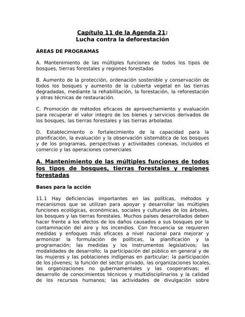 Capítulo 11 de la Agenda 21: - CEDAF
