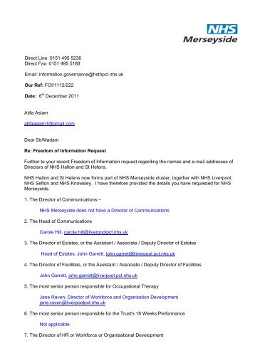 FOI Response - Halton and St Helens PCT