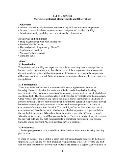 1 Lab 11 - AOS 330 More Meteorological Measurements and ...