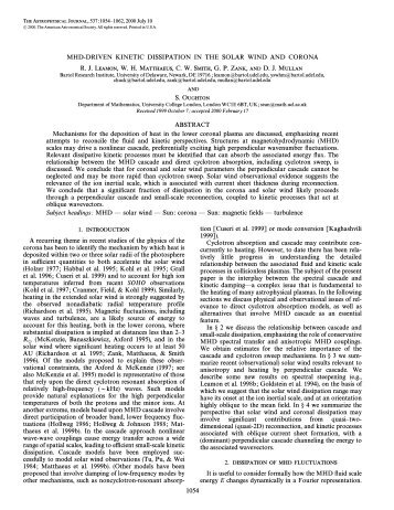 1. introduction 2. dissipation of mhd fluctuations - University of ...