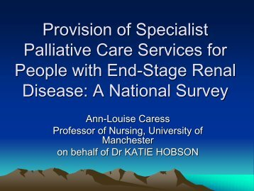 Provision of Specialist Palliative Care Services for People with End ...