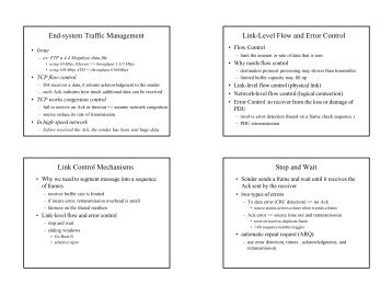 1 End-system Traffic Management Link-Level Flow and Error Control ...