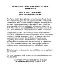 APHA Public Health Nursing Scholarship - School of Nursing